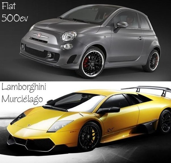 Fiat 500ev and Lamborghini Murciélago